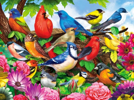 Friendly birds - tree, blossoms, birds, flowers, beautiful, spring, friends, colorful, cardinals, gathering