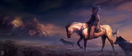 Native American - lup, wolf, man, native american, horse, art, luminos, indian, cal, fantasy, purple
