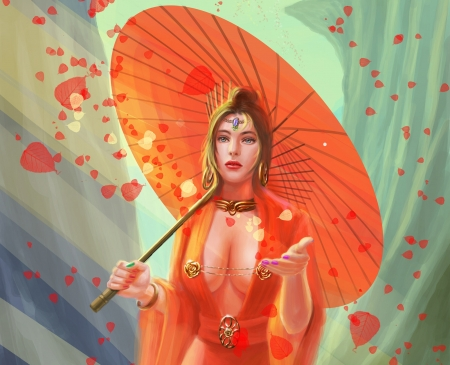 Fantasy girl - parasol, frumusete, luminos, breeze, umbrella, superb, zhang zhuohui, fantasy, vara, girl, summer, hand, petals, gorgeous