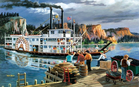 Riverboat - ship, pier, people, painting, wheel, river, steam, artwork