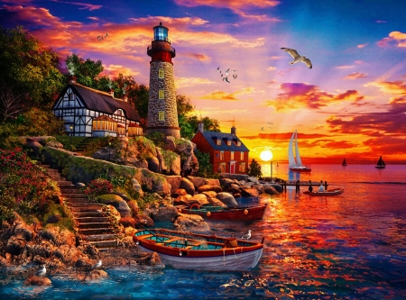 Sunset Bay Lighthouse - sun, boat, cottage, cliff, reflection, clouds, sky, rocks, artwork, digital