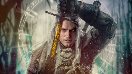 Geralt - geralt, frumusete, fantasy, the witcher, tv series, sprsprsdigitalart, man, sword, Henry Cavill