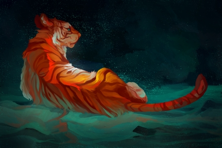 Tiger - art, fantasy, water, orange, tigru, tiger, starapture, blue, luminos