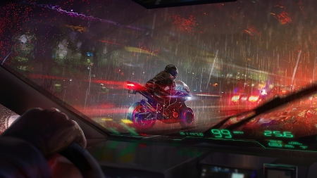 Cruising biker - yakovlevart, lights, night, motorcycle, frumusete, luminos, window, fantasy, car, bike, rain, street