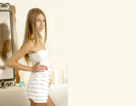 Anjelica Ebbi - white dress, strapless, blonde, standing, mirror, ring, pleated