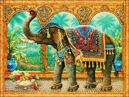 Rajah's Feast - elephant, pillars, art, fruits, digital, colors, palace