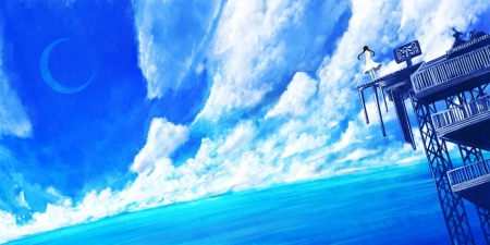 Sea - cloud, anime, ocean, sea