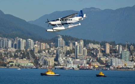 Seaplane - boats, city, seaplane, sea, mountains