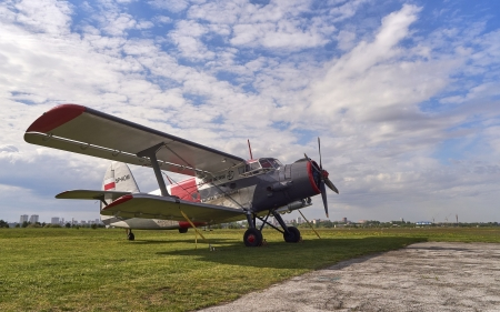 Plane An-2 - sky, airfield, plane, Russia, An-2, clouds