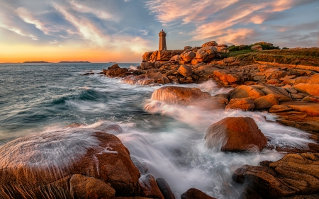 Lighthouse in France - sea, lighthouse, rocks, France, clouds, coast