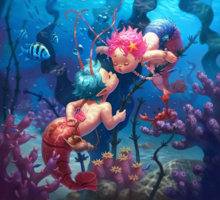 Shrimpmaids - frumusete, fish, luminos, nelly amosova, kiss, cute, water, vara, boy, fantasy, girl, summer, pink, blue, couple, shrimpmaids, pesti