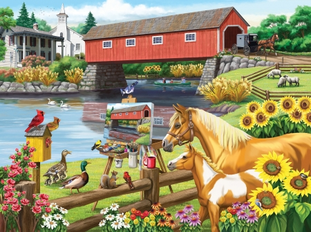 Critics Choice - ducks, painting, flowers, river, animals, horses, finches, squirrel, covered bridge, artwork, cardinals