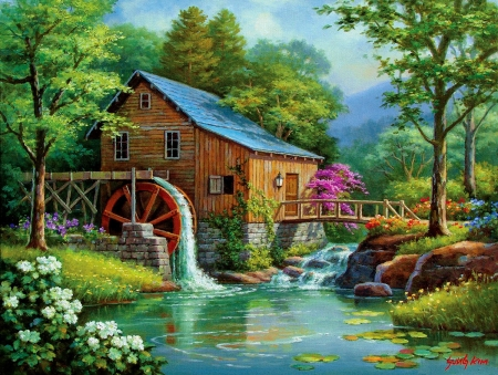 Song of Summer - river, watermill, trees, painting, flowers, artwork