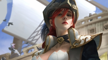 Miss Fortune - luminos, girl, game, face, league of legends, redhead, hat, fantasy, pirat, miss fortune