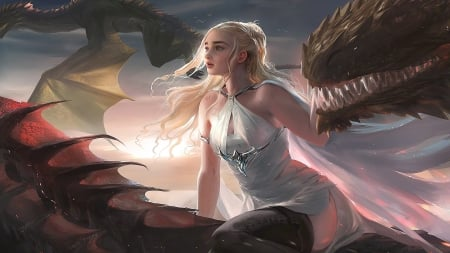 Daenerys - fantasy, girl, luminos, game of thrones, sakimichan, daenerys targaryen, dragon, mother, frumusete