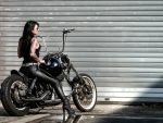 Woman in Black Leather on her Motorcycle