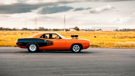 1971 Plymouth 440 Barracuda - Plymouth Barracuda, barracuda, side view, cars, plymouth, vehicles, orange cars