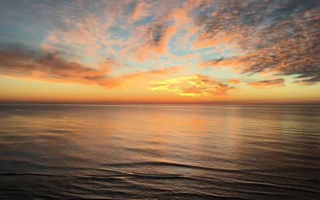 Sunrise over Ocean - clouds, ocean, water, calm, South America, sunrise