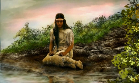 Sitting by The Living Waters - women, indigenous, Water, Native American, sitting, nature