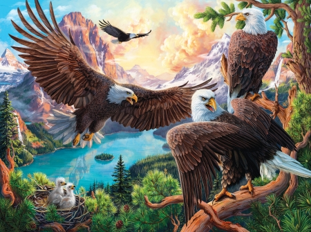 Eagle Dance - bald eagles, nest, mountains, clouds, sky, chicks, artwork, lake, painting