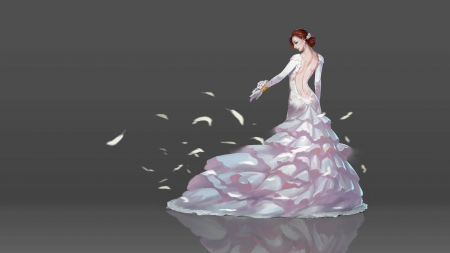 Shall we? - hu shuai, dress, girl, luminos, grey, petals, white, dancer, fantasy