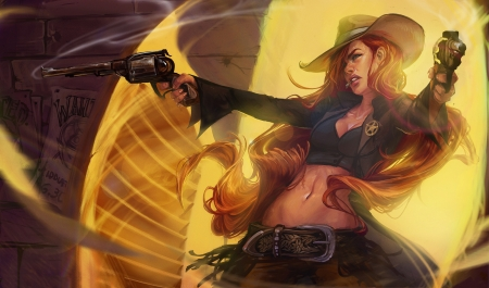 Miss Fortune - league of legends, hat, fantasy, miss fortune, girl, yellow, game