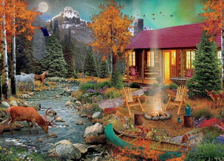 Aurora Lights - fire, autumn, moon, cottage, mountains, river, stag, horses, paintings