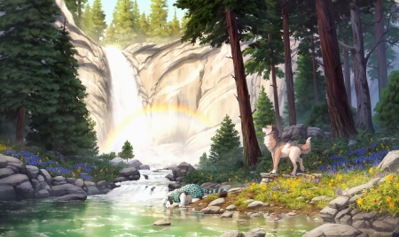 Spring Equinox - wolf, Spring, rainbow, art, rocks, leopard, trees, mountain, flowers, waterfall, peaceful