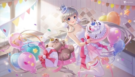 Happy Birthday! - 3q studio, cake, balloon, fantasy, girl, birthday, pink
