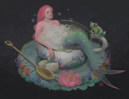 Mermaid - art, lotus, frumusete, fernanda rizo, luminos, mermaid, black, bath, frog, fantasy, green, girl, flower, spa, siren, pink