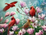 Four birds in flowers