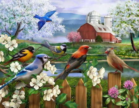 Spring gathering - art, fence, pretty, birds, spring, fun, beautiful, joy, farm, countryside, cardinals, gathering, flowers, blossoms
