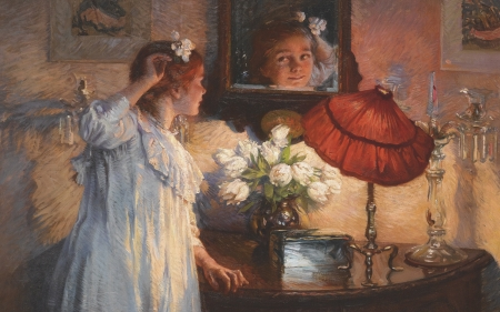 The mirror - art, lamp, girl, painting, mirror, reflection, albert chevallier tayler, pictura