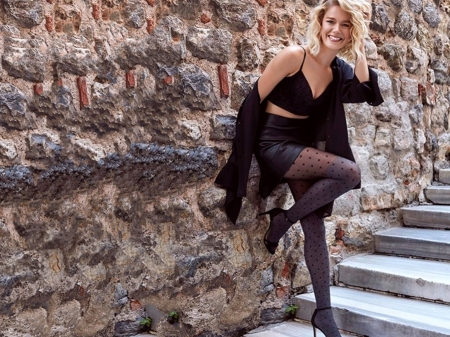 Burcu Birick - black, skirt, stairs, beautiful, Turkish, heels, Burcu, stockings, jacket, actress, wallpaper, 2020, Birick, Burcu Birick, bra, model, smile, sexy