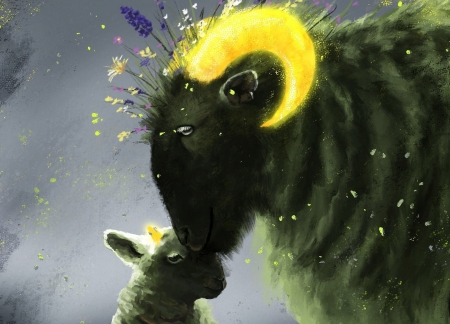 The arrival of spring - art, miel, luminos, yellow, spring, jana herrmann, horns, sheep, cute, fantasy, oaie, green, oi, lamb, oita