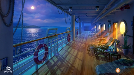 Night deck - deck, sea, night, luminos, orange, game, grafit studio, fantasy, moon, water, ship, stuff, blue
