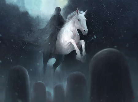 Pale horse - simon gunnarsson, veil, horse, animal, art, death, frumusete, cemetery, luminos, halloween, cal, dark