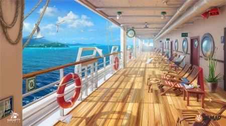 Daytime deck - ship, yellow, grafit studio, day, daytime, deck, blue, vara, water, summer