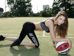 Mila Azul with her Basketball