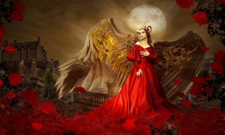Rose Angel - fantazy, golden wings, fantasy art, red gown, dreamy, moon, Angel, enchanting, Roses, castle