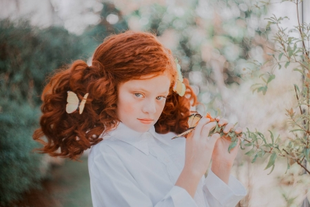 Little redhead - child, redhead, annie mitova, girl, butterfly, copil
