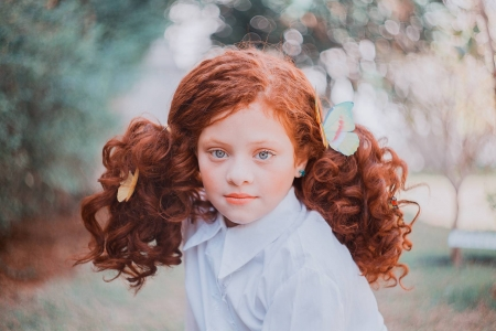 Little redhead - girl, redhead, annie mitova, butterfly, copil, child