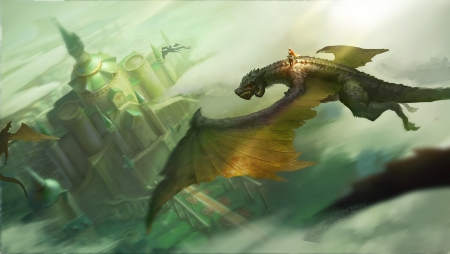 Dragon - leenl, flying, dragon, lee nl, art, view from the top, wings, frumusete, fantasy, rider, castle