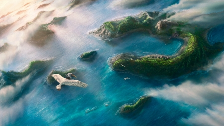 Island outpost - water, fantasy, csaba elteto, bird, luminos, flying, island, art, view from the top, green