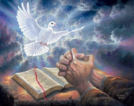 Answered Prayer - hands, religious, painting, book, dove, light, artwork