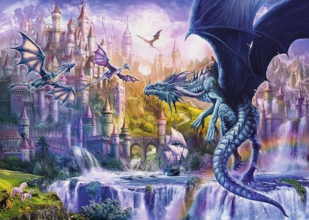Kingdom of Dragons - art, ship, mountains, digital, waterfall, castle, unicorns