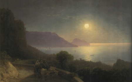 The form of the Crimea in the moonlight - art, water, luna, crimea, painting, pictura, night, sea, ivan aivazovsky