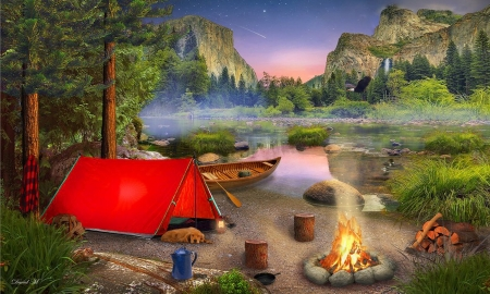 Wilderness Camping - Scenic, Wilderness, tent, forests, Camping, Outdoors fire, colorful, Canoe, mountains, Lake, nature