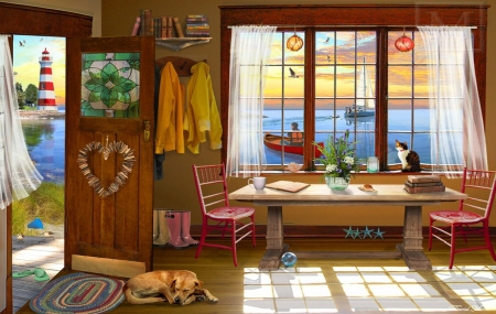 Ocean Front - cat, dog, Ocean view, cozy, window, home, Tranquil, lighthouse, beach, Kitchen, serene, peaceful, relaxing