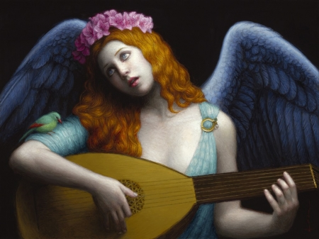 Angel music - wreath, frumusete, wings, luminos, redhead, music, angel, fantasy, song, instrument, girl, flower, pink, blue, chie yoshii